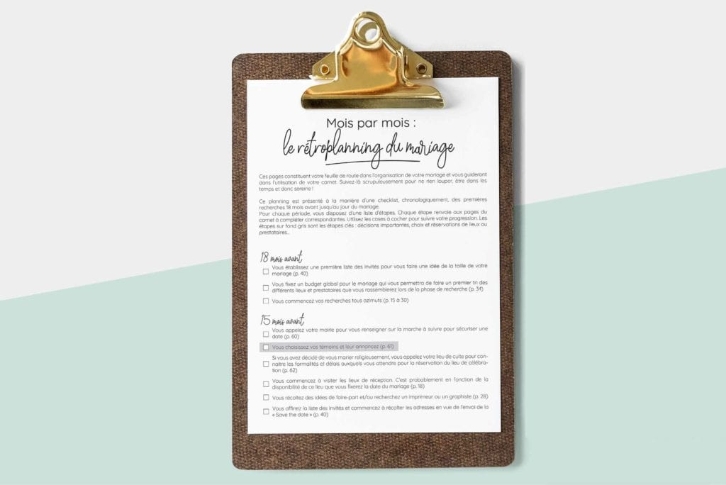rétroplanning pour organisation mariage